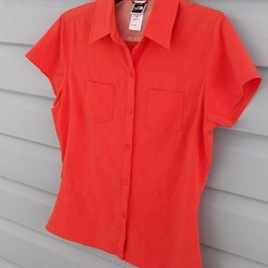 The north face orange blouse size small